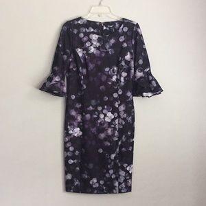 DKNY Sz 8 Ruffle Bell Sleeve Women's Sheath Dress